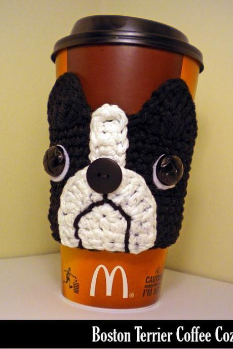 Finished Item - Handmade Boston Terrier Coffee Cozy