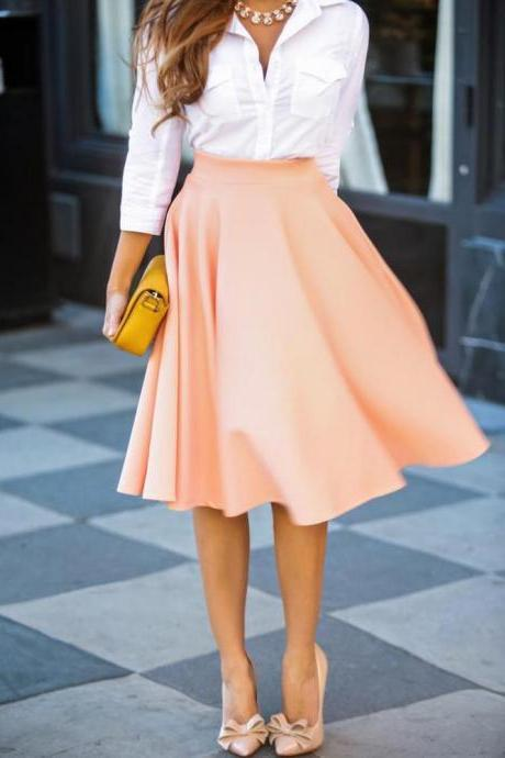 FASHION HOT PURE COLOR SKIRT HIGH QUALITY
