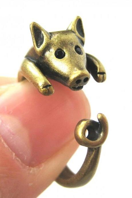Realistic Piglet Animal Wrap Around Hug Ring In Brass Sizes 4 To 9