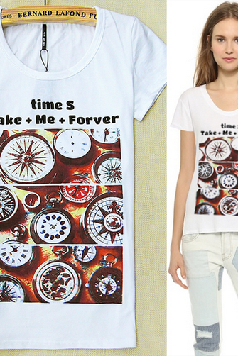 Women's round neck short sleeve T-shirt retro compass