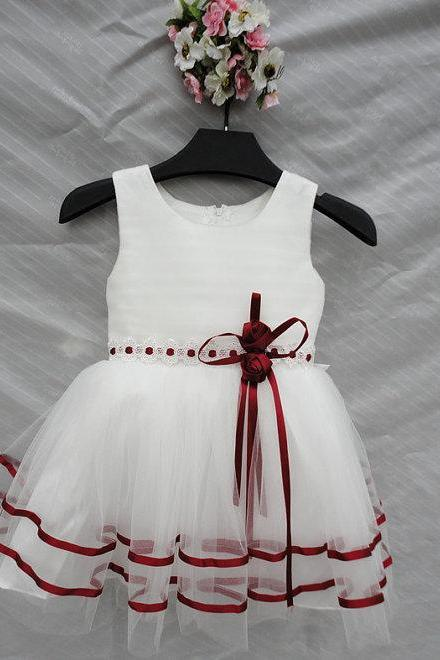 lovely White Tulle Skirt flower girl dress Sleeveless flower girl dress,girl's birthday dress