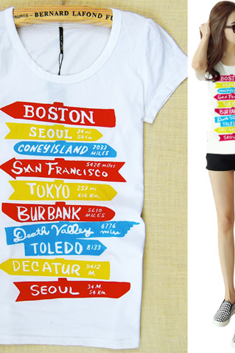 Summer Short Sleeve personal fashion women's white T-shirt spell color pattern signpost