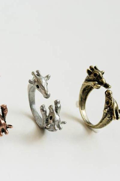 Double giraffe ring,,Adjustable Ring,Animal Ring,Everyday Ring,Antique Ring,Vintage Ring,Gift Ring,Christmas Gift idea,burnish ring