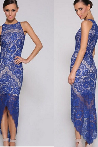 Asymmetric Hemline Lace Evening Dress