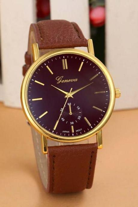 Cute casual one color Pu leather brown band girl watch