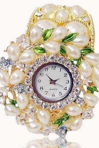 Golden Color Bridal Watch Wedding Speacial Watch Pearl Crystal Bangle Ladies Floral