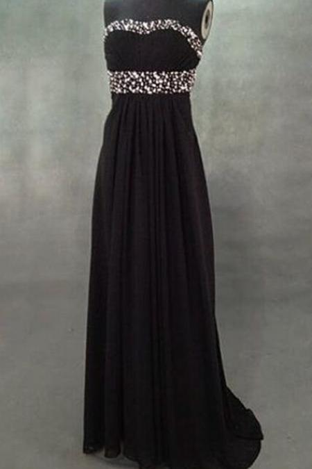 Sweet Black Open Back Chiffon Floor Length Prom Dreses with Beadings, Black Prom Dresses, Black Evening Dresses, Formal Dresses