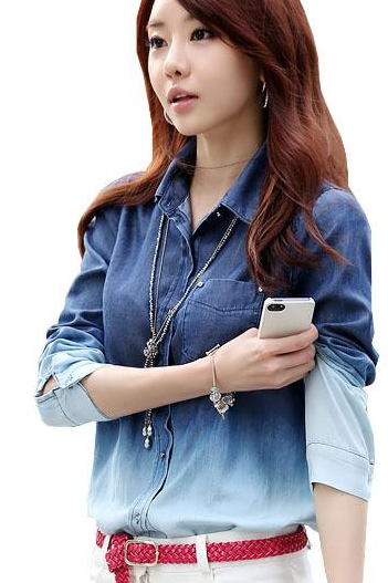 Jeans blouse women long sleeve shirts causal blue t-shirt