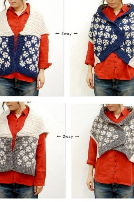 2-Way Hand-Knit Cardigan Vest Flower