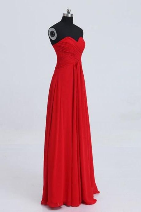 High Quality Pretty Simple and Elegant Sweetheart Red Floor Length Prom Dresses2015, Red Prom Dresses 2015, Prom Gown, Bridesmaid Dresses