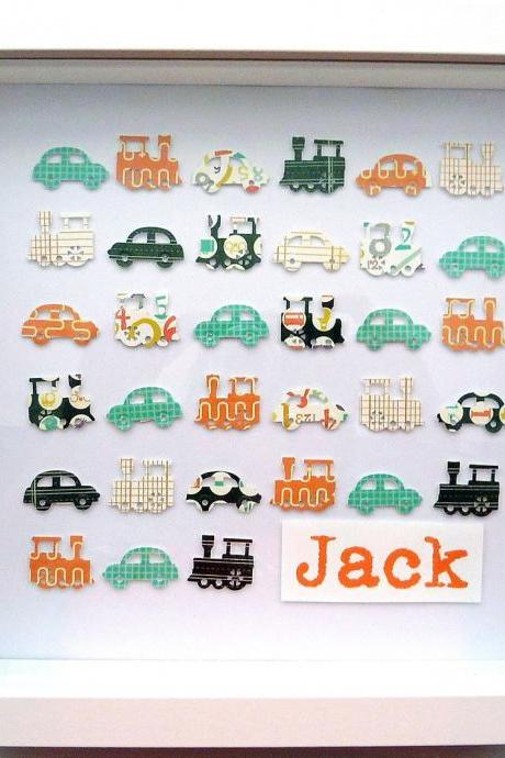 baby gift. custom personalised art. boy's traffic: cars and trains. framed 10 x 10