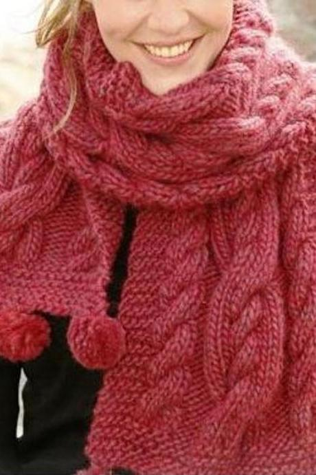 Women's Fashion - Luxurious Hand-Knit Shoulder Chunky Scarf Wrap