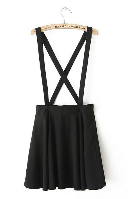 Simple Color Pleat Hem With Straps Skirt