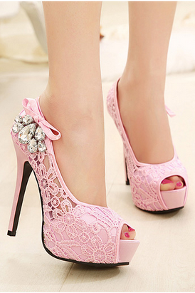 Diamond lace wedding shoes fish head over heels pink shoes fashion shoes fine with
