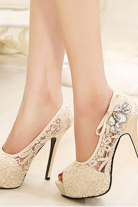 Diamond lace wedding shoes fish head over heels pink shoes fashion shoes fine with in beige