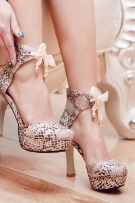 Snake Pattern Ankle Strap High Heel Shoes With Bow