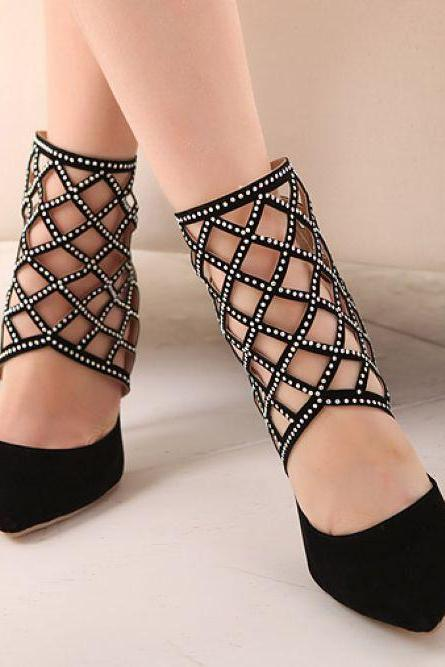 Black Cut Out Rhinestone Design High Heel Shoes