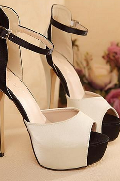 Peep Toe Stiletto Satin Sandals with Ankle Straps