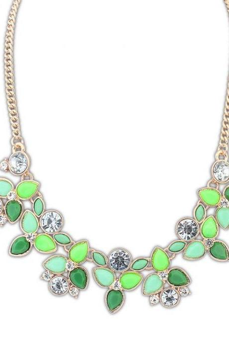 Flower rhinestones jewelry anniversary green woman necklace