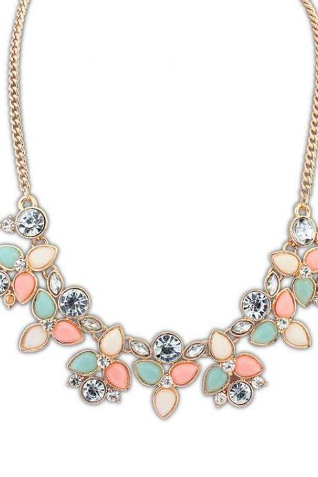 Flower rhinestones jewelry anniversary colorful woman necklace
