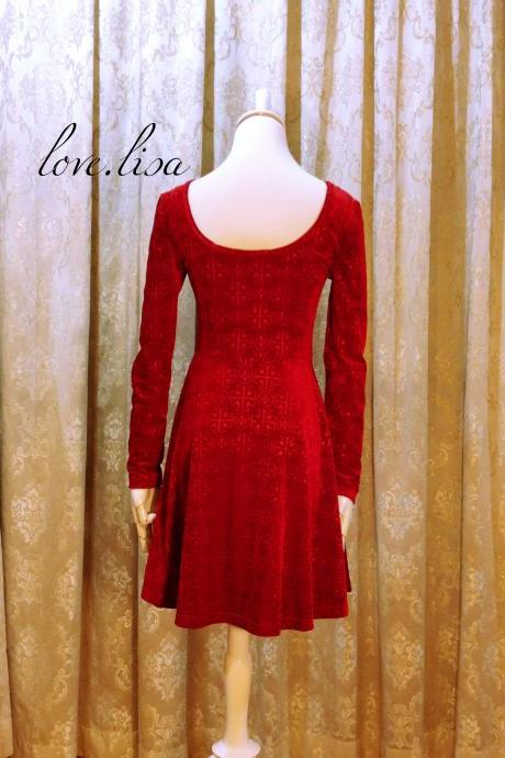 Red velvet bodycon dress /prom dress/evening party dress