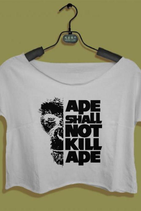 ape shall not kill ape shirt ape planet women crop top crop tee planet of ape tshirt all size black white We heart it Pinterest Tumblr PLA02