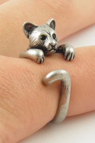 cute cougar ring bear ring silver bronze animal wrap ring rings fashon jewelry