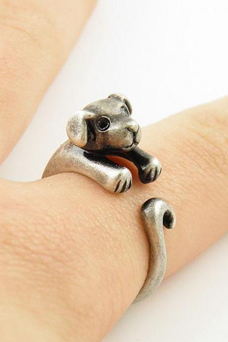 cute puppy dog doggy ring silver bronze animal wrap ring rings fashon jewelry