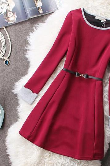 Slim round neck long-sleeved dress HG11803JK