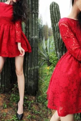 Slim round neck long-sleeved lace dress HG11804KJ