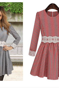 Round neck long-sleeved plaid lace embroidered waist dress