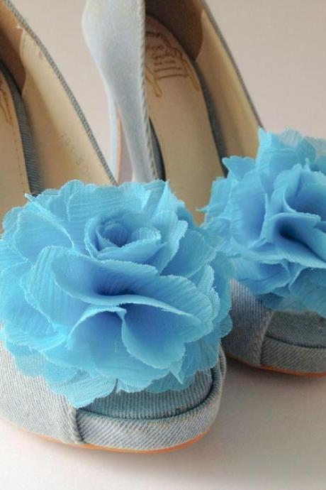 1 pair (Set of 2) Aqua blue Chiffon flower shoe clips for bridal wedding /Choose your color