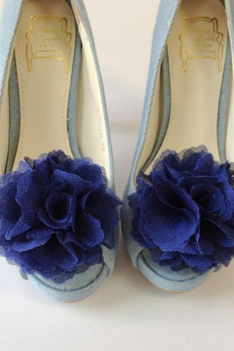 1 pair (Set of 2) Navy Blue Chiffon flower shoe clips for bridal wedding /Choose your color