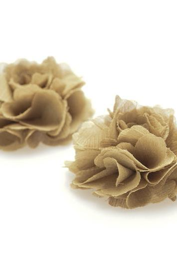1 pair (Set of 2) Moss green Chiffon flower shoe clips for bridal wedding /Choose your color