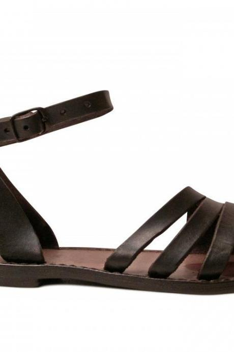 Women sandals in Dark Brown Leather handmade Sizes EU35-41