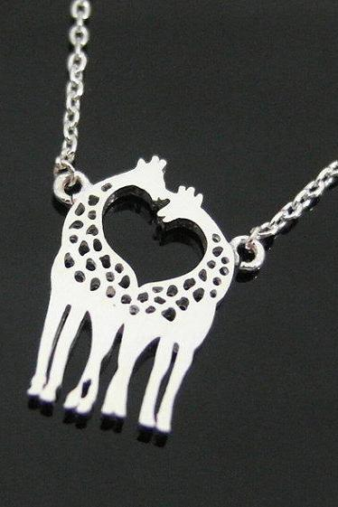 Two Giraffes In Love Necklace Giraffe Couple Necklace In Silver Loving Giraffes Animal Jewelry