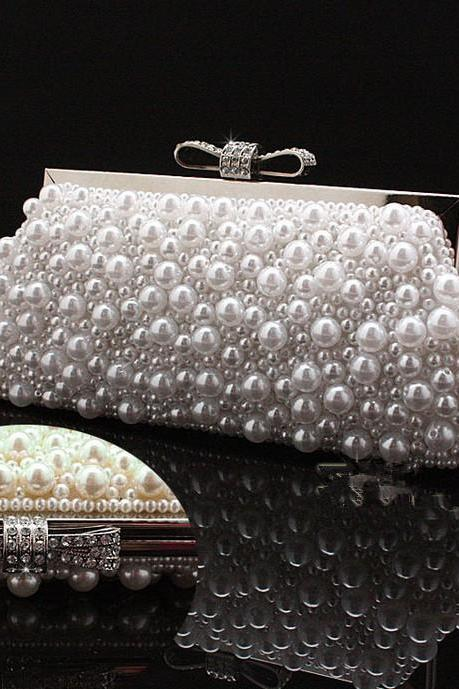 women's Beaded Evening Bag Imitation Pearls Beads Clutch bag with Chain Purse