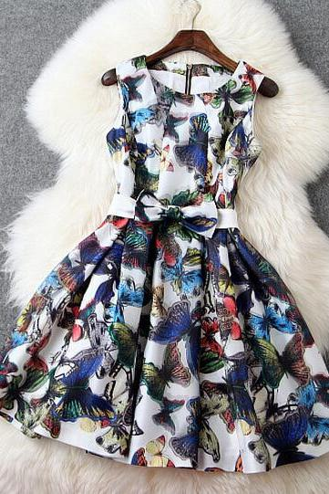 Fashion organza Slim Butterfly Print dress PL0119CE