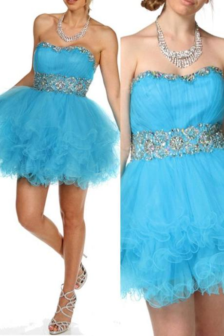 Sexy Mini Organza Graduation Dress Sweetheart Graduation Dress Sequined Girl Party Dress