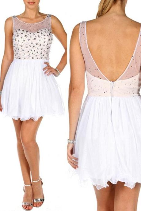 Fashion A-Line Chiffon Sequined Graduation Dress Sequined Mini Homecoming Dress