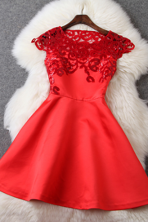 The new European and American fashion gauze dress Slim sequined embroidery thread empty--red