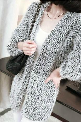 Long Sections Mohair Nine Points Sleeve Cardigan Sweater