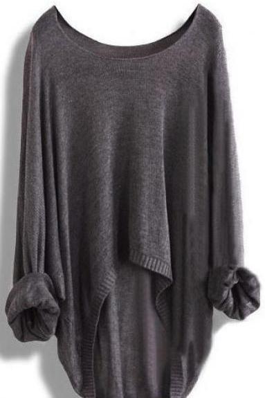 Long-Sleeved Knit Shirt Batwing Loose Asymmetric Blouse Sweater