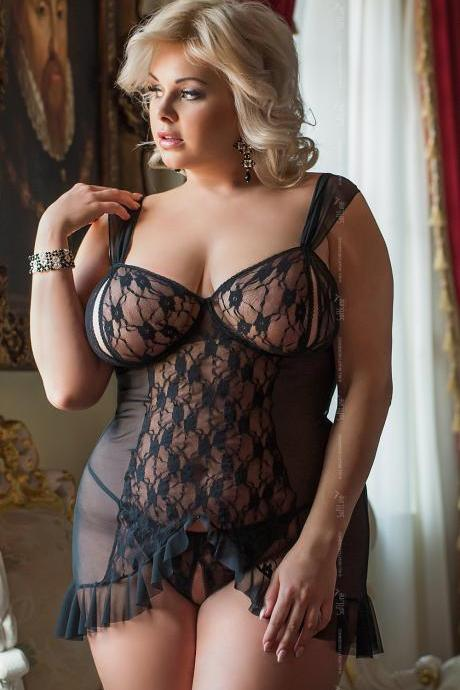 sexy erotic lingerie black chemise nightwear big plus queen size 3XL 3X XXXL for bbw EU 48 50 52 UK 16 18 20