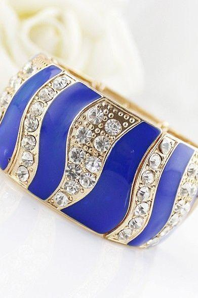 Rhinestones bangle fashion blue woman jewelry bracelet