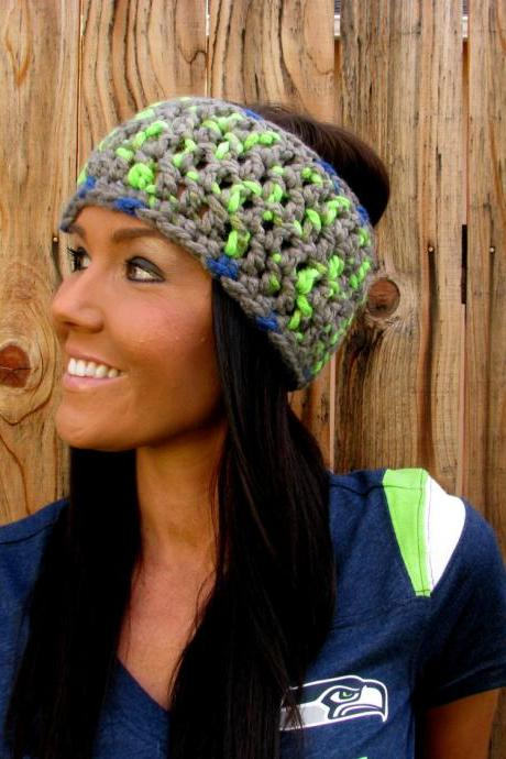 Seattle Seahawks Wool Wrap Headband Hair Accessory Band Hawks Fashion Neckwarmer Scarf Blue Green Grey w/ Reclaimed Wood Buttons Woman Men