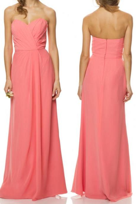 Elegant Chiffon Bridesmaid Dress Brief A-Line Bridesmaid Dress Sweetheart Bridesmaid Dress Long Bridesmaid Dress