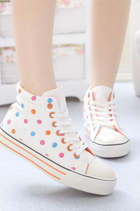 Ladies shoes winter new high top canvas lace-up trainers polka dot sneakers shoe