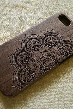 Mandala iPhone 6 case, Wood iPhone 6 Plus case, Wood iPhone 6 cover, cool, laser engraving, real wood, wood iPhone case