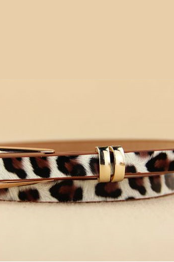 Friends and Family gift leopard thin leather woman belt